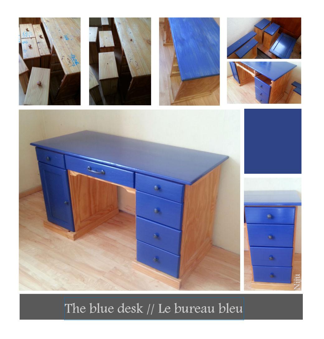 the blue desk le bureau bleu julia nieto. Black Bedroom Furniture Sets. Home Design Ideas